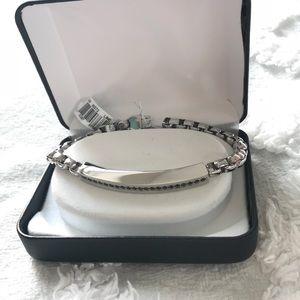 Men's Stainless Steel Bracelet with Black CZ
